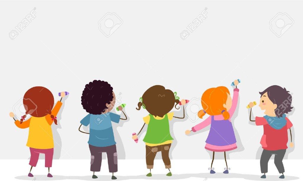 20780072-Back-View-Illustration-of-Stickman-Kids-Writing-on-a-Blank-Board-with-Crayons-Stock-Illustration